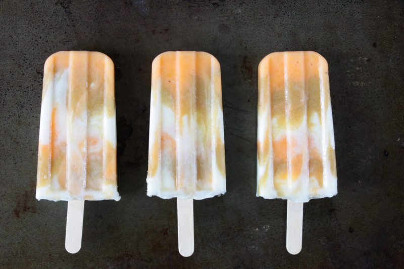 Honeyed Peach-Rhubarb Creamsicles